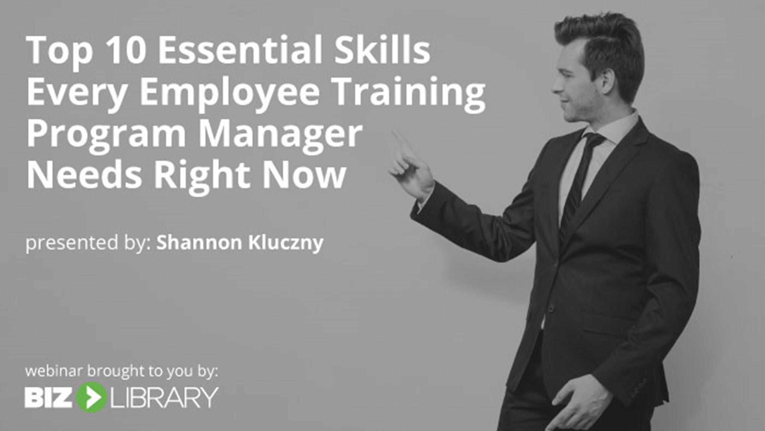Employee Training Program Manager Skills webinar cover image
