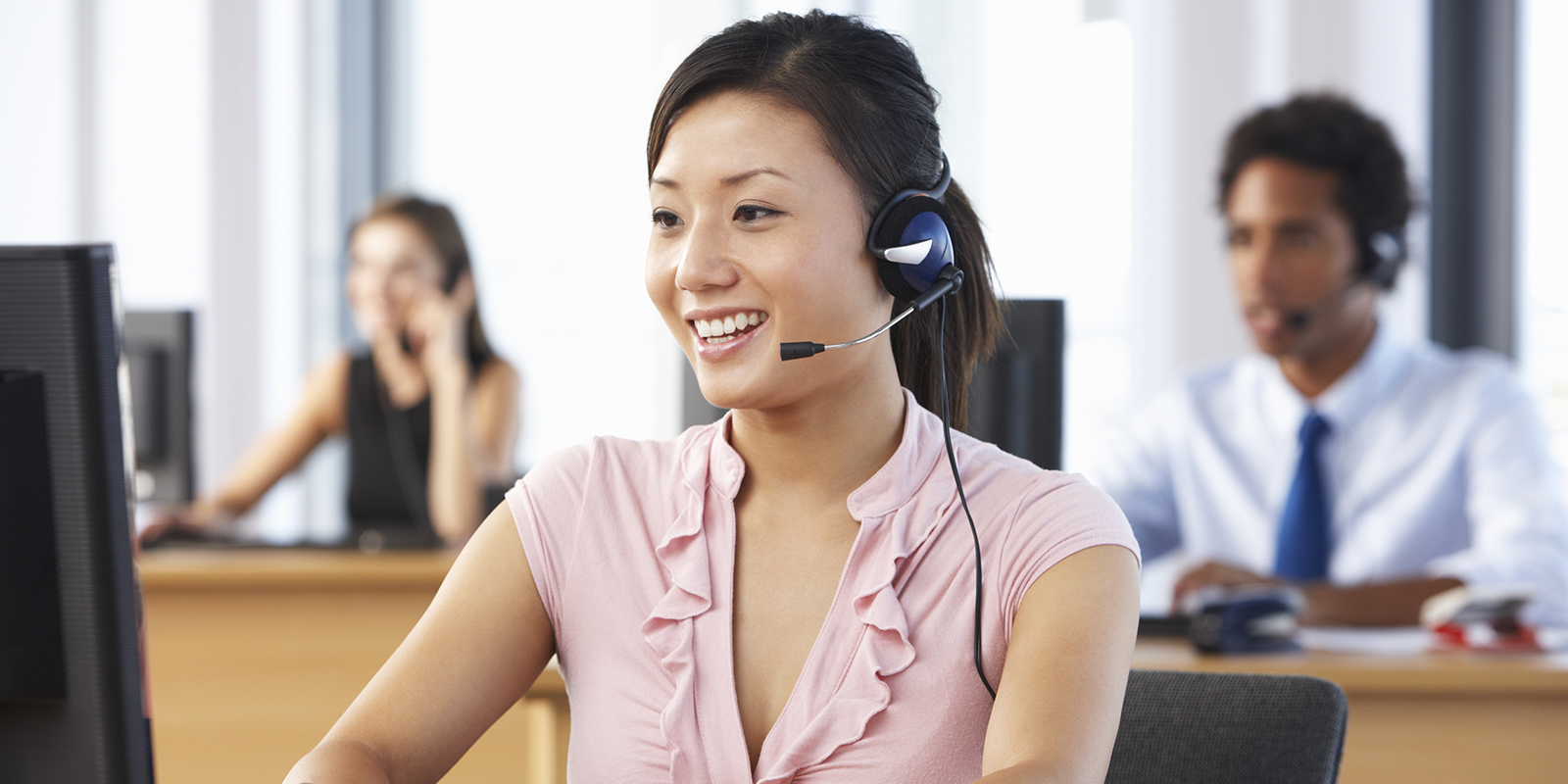 Friendly Customer Service Agent In Call Center